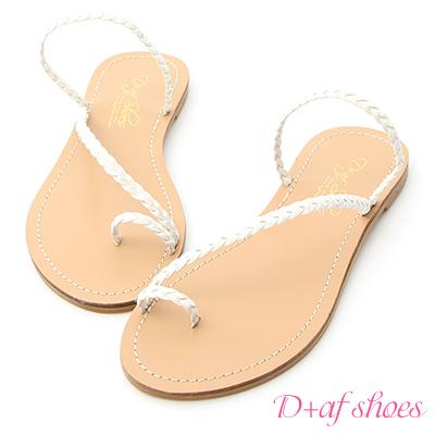 D+AF 微涼印象.麻辮編織平底涼拖鞋*白