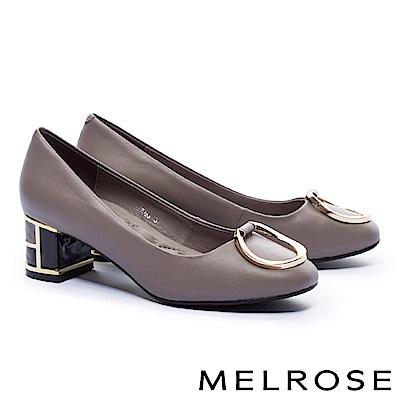 高跟鞋 MELROSE 復古奢華金屬圓環設計羊皮特色鞋跟高跟鞋-可可