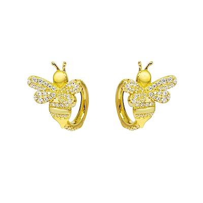 apm MONACO法國精品珠寶 閃耀金色蜜蜂圈式耳環