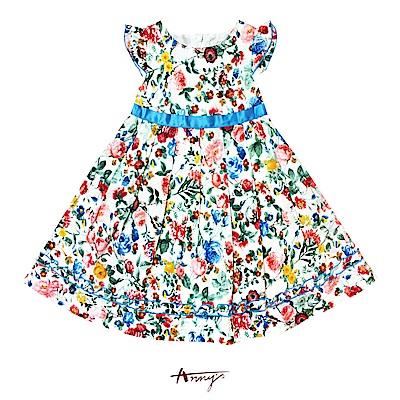 Annys夢幻精靈花卉紛飛緞帶洋裝*7129藍