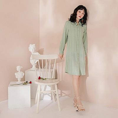 微光質感輕柔不易皺直條紋中洋裝外套-OB大尺碼