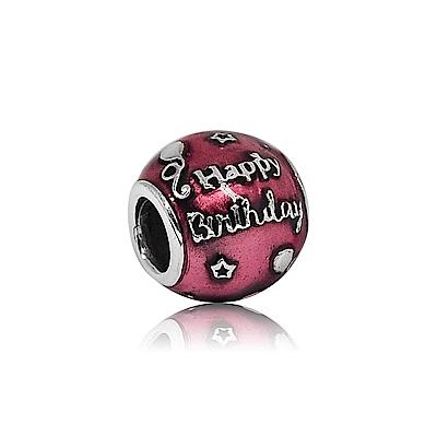 Pandora 潘朵拉 圓形深桃紅搪瓷 慶祝生日 純銀墜飾 串珠