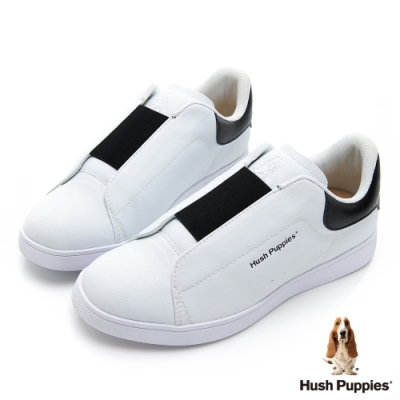 Hush Puppies 輕量皮革直套式繃帶厚底鞋-白色