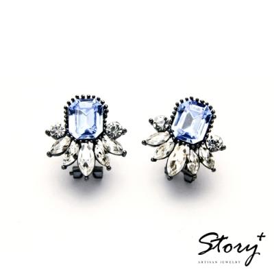 STORY故事銀飾-氣質時尚耳環-Dazzling晶鋯耳環(水藍)