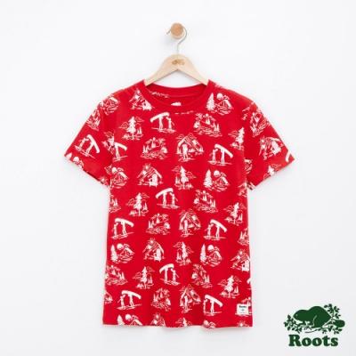 女裝Roots 露營滿版印花短袖T恤-紅
