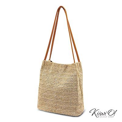 Kiiwi O! bucketbag | 夏季簡約草編水桶包 焦糖色