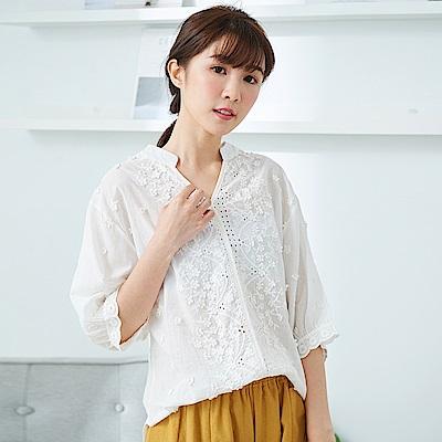 慢 生活立體繡花蕾絲上衣-F 白色