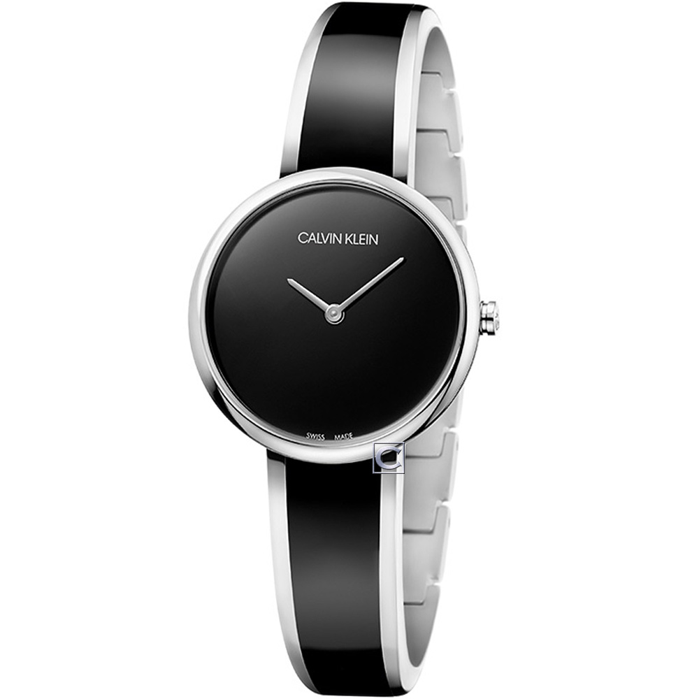 Calvin Klein Seduce誘惑時尚手環式腕錶(K4E2N111)-黑30mm