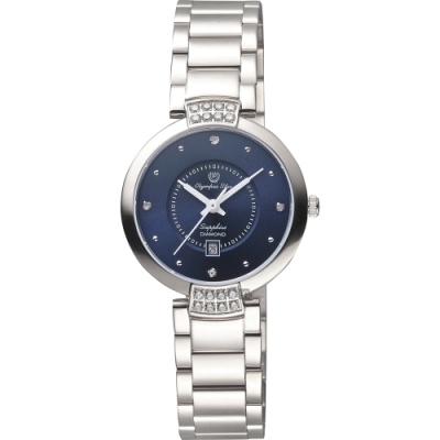 Olympia Star 奧林比亞之星華麗水晶女錶-藍/30mm(28043DLS)