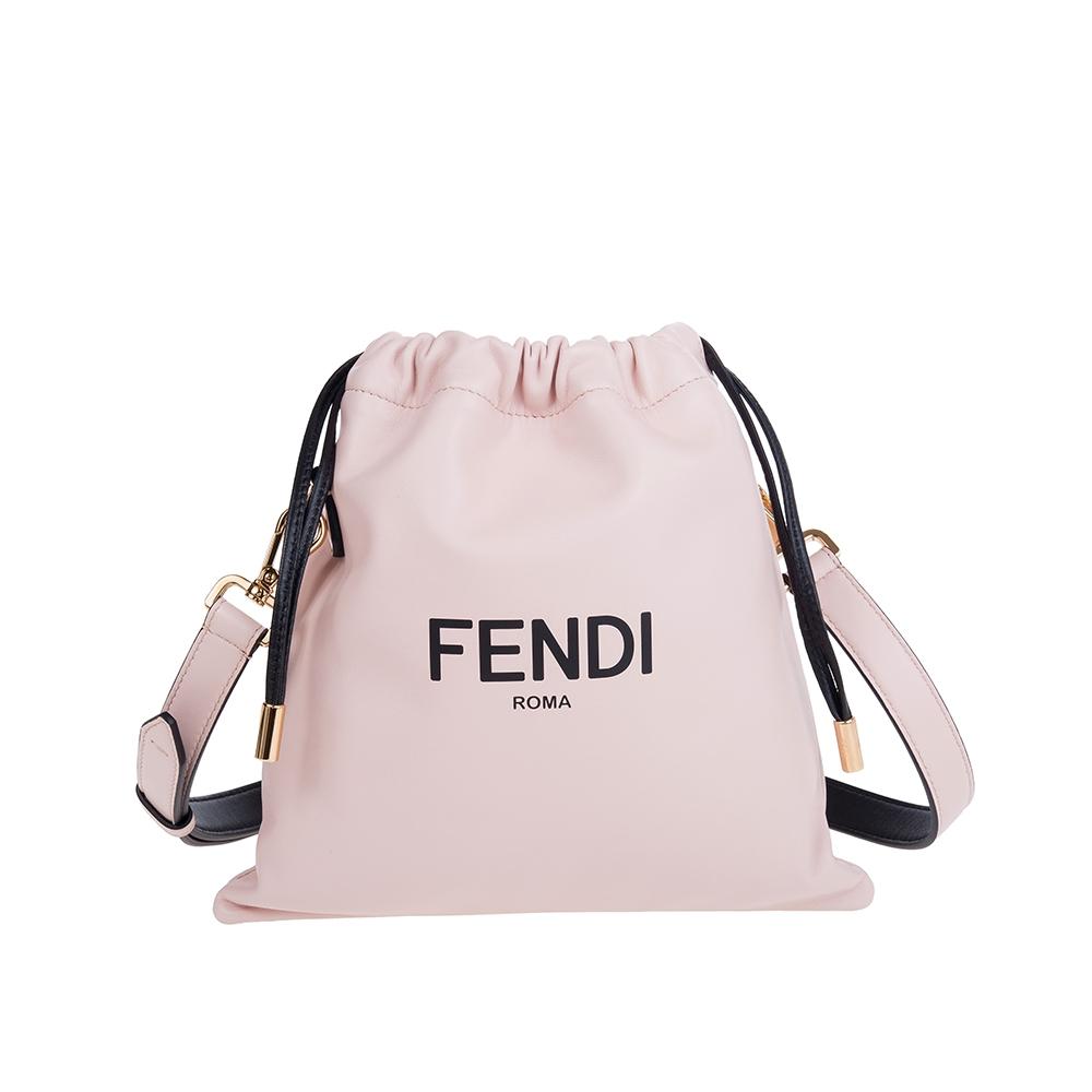 FENDI 新款Packaging系列霧粉納帕皮革PACK小型購物袋束口手拿/斜背包