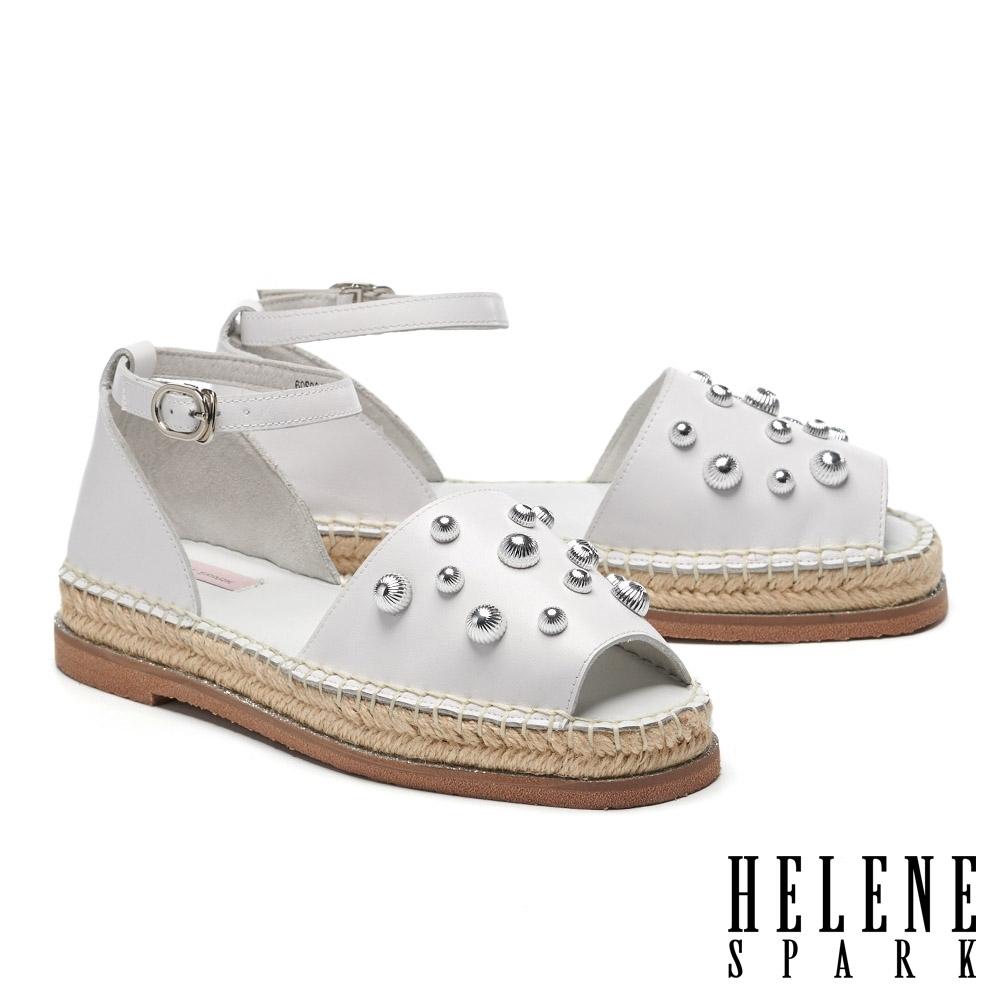 涼鞋 HELENE SPARK 時髦方頭鉚釘草編厚底涼鞋-白