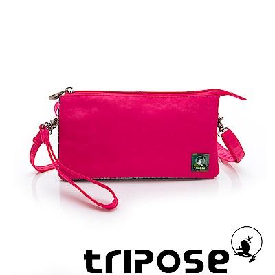 tripose 漫遊系列岩紋簡約微旅手拿/側肩包 桃紅