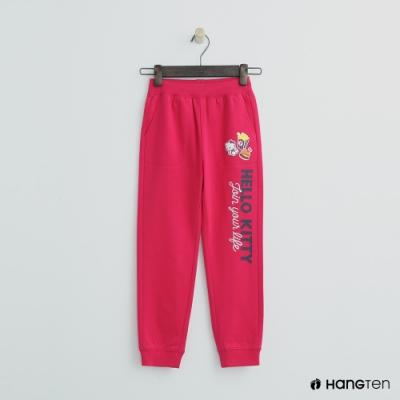 Hang Ten -童裝 - Sanrio-束口側邊logo運動長褲 - 桃紅