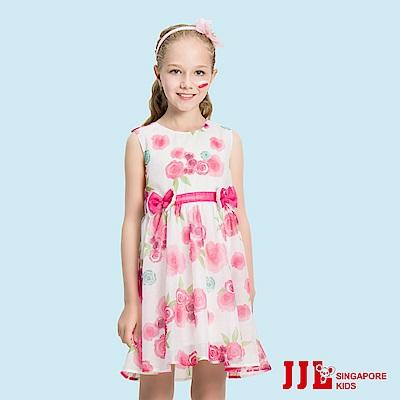 JJLKIDS 花漾甜心玫瑰印花洋裝(粉紅)