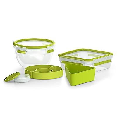 Tefal特福 德國EMSA原裝 樂活系列PP保鮮盒(沙拉碗+三明治盒)