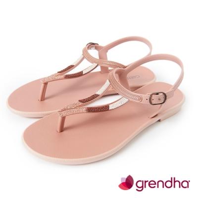 Grendha 異國風金屬串珠平底涼鞋-粉紅色