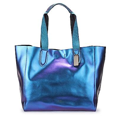 COACH 馬車LOGO素面金屬光感輕盈軟皮革肩背大托特包-藍紫色