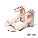 達芙妮DAPHNE 涼鞋-簡約一字帶粗跟涼鞋-米白