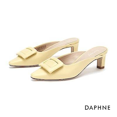 達芙妮DAPHNE 高跟鞋-簡約方釦穆勒尖頭跟鞋-黃