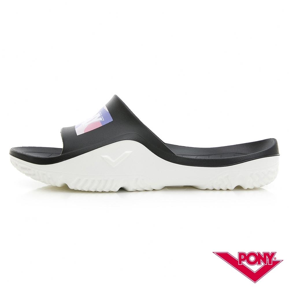 【PONY】輕量抗菌防臭防滑運動拖鞋 涼鞋 男鞋 女鞋  黑/粉彩
