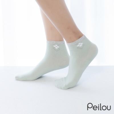 貝柔消臭精梳棉短襪-菱格(6雙組)