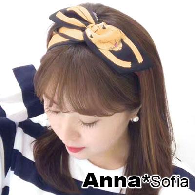 AnnaSofia 俏萌動物 兔耳髮帶髮圈領結帶(黃狐系) @ Y!購物