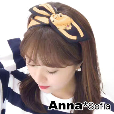 AnnaSofia 俏萌動物 兔耳髮帶髮圈領結帶(黃狐系)
