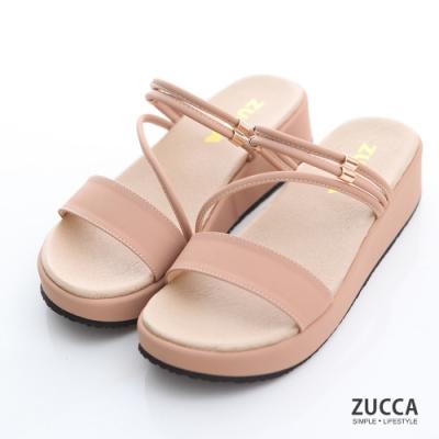 ZUCCA-素色繞繩邊厚底拖鞋-粉-z7005pk