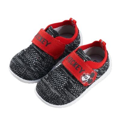 迪士尼童鞋 米奇 彈性飛織寶寶休閒鞋-黑