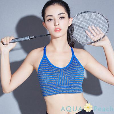 運動內衣 條紋樣式無鋼圈後交叉內衣 (藍色)-AQUA Peach