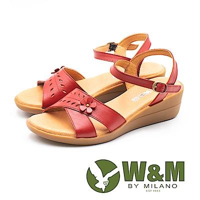 W&M(女)溫柔童趣 真皮交叉楔型涼鞋-紅(另有藍)