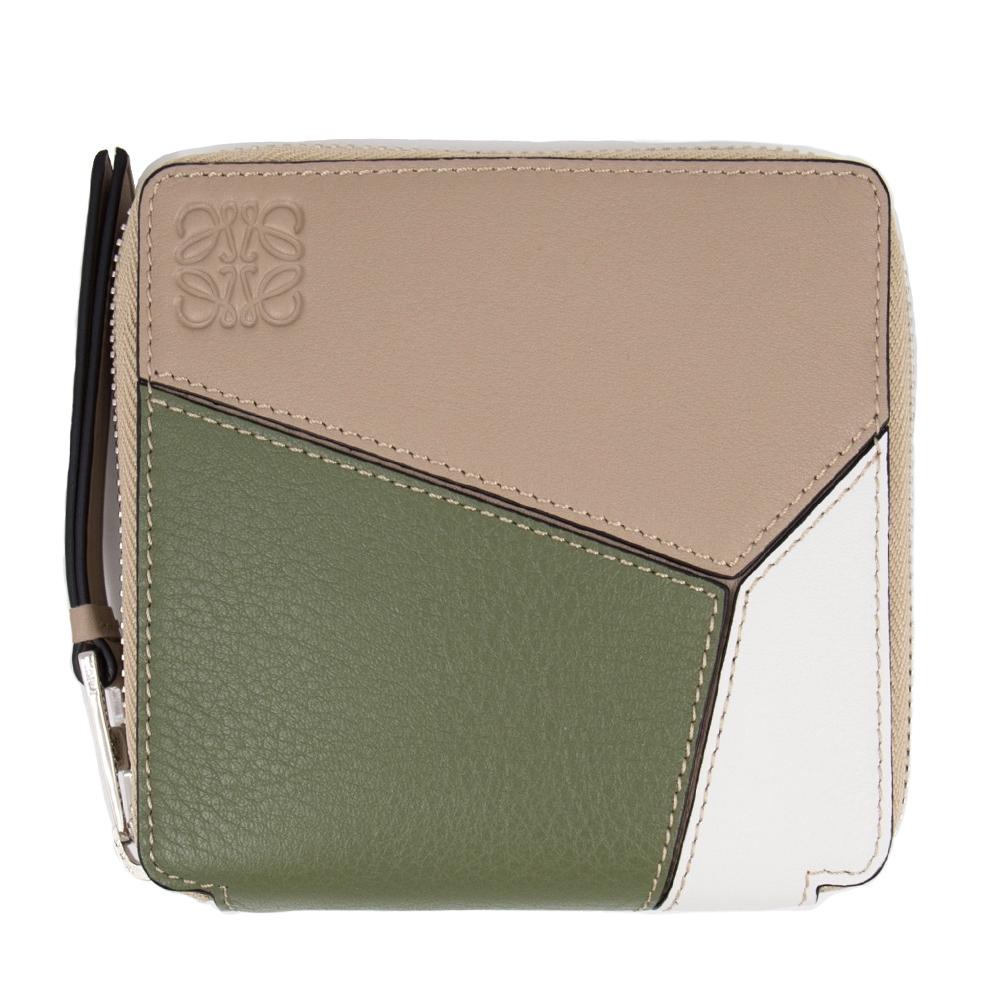 Loewe Puzzle 方形拉鍊錢包/短夾 (沙色 x 牛油果綠) Puzzle squared zip wallet