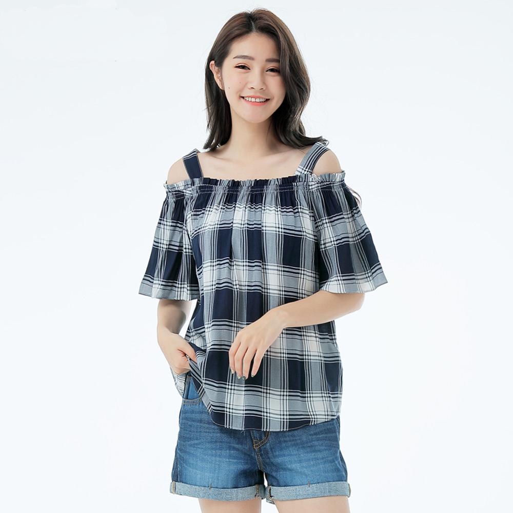 Victoria 肩抽縐短袖T-女-藍白格 product image 1