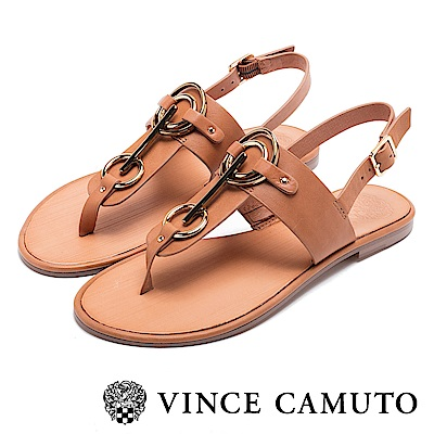 VINCE CAMUTO 個性金屬扣平底夾腳涼鞋-棕色