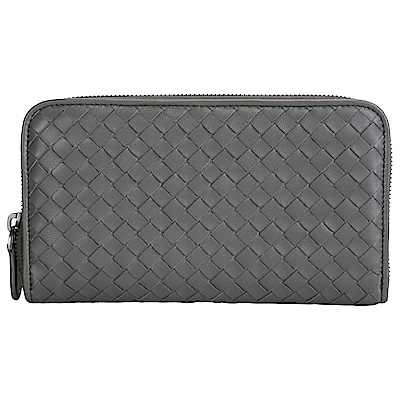 BOTTEGA VENETA 經典小羊皮編織拉鍊長夾(灰色)