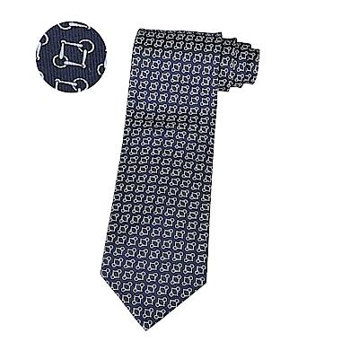HERMES愛馬仕MORS EVER經典緹花LOGO幾何圖形設計蠶絲領帶(海洋藍x白)