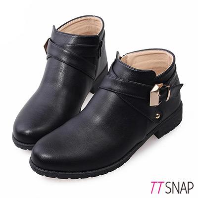TTSNAP短靴 MIT個性交叉釦帶低跟踝靴 黑