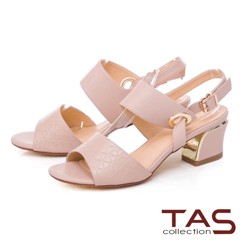 TAS 幾何壓紋寬版繫帶粗跟涼鞋-甜美粉