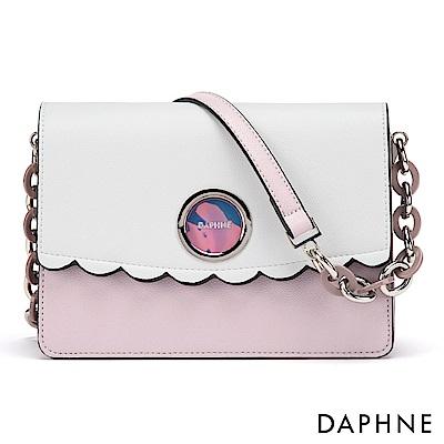 達芙妮DAPHNE-哥德環帶波浪撞色小方包-淺紫色