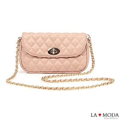 La Moda 約會不敗單品小香風菱格紋旋鈕兩用腰包鍊條包(粉)