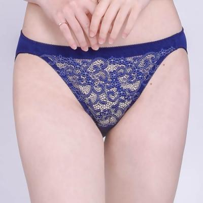 思薇爾 桔梗花戀系列M-XL蕾絲低腰三角內褲(風尚藍)