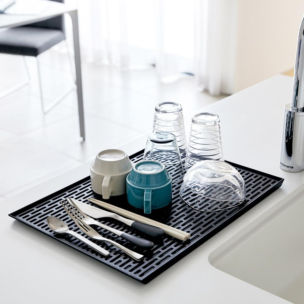日本 YAMAZAK-tower極簡瀝水盤(黑)★廚房用品/茶水間/瀝水盤/置物盤