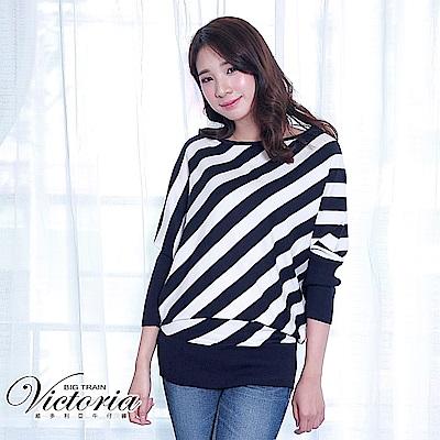 Victoria (前後可穿)斜條長版長袖線衫-女-藍白條