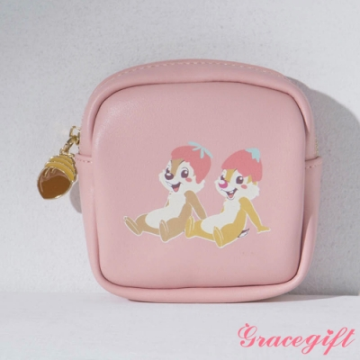 Disney collection by gracegift-迪士尼櫻花粉嫩方形零錢包 深粉