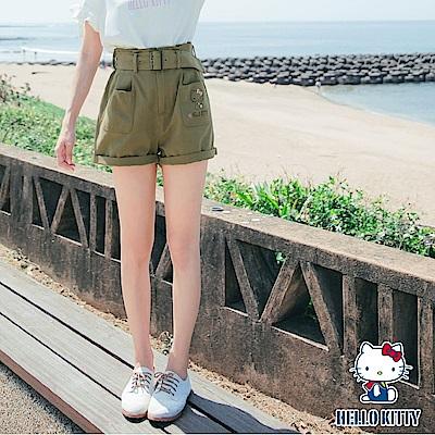 kitty微甜系列~純棉雙口袋印花高腰短褲-OB大尺碼