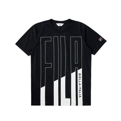 FILA 短袖圓領T恤合身版-黑色 1TEV-1519-BK