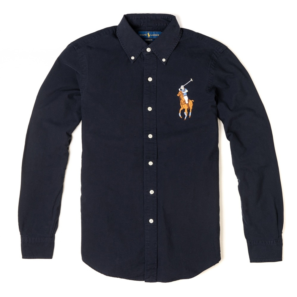 Polo Ralph Lauren 年度經典熱銷彩色大馬刺繡長袖襯衫 - 深藍色