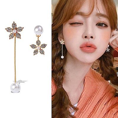 梨花HaNA 韓國水仙夢幻鑽石珍珠不對稱耳環