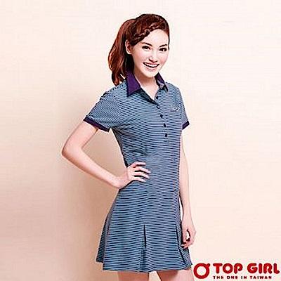 【TOP GIRL】輕學院時尚POLO洋裝 - 淺綠