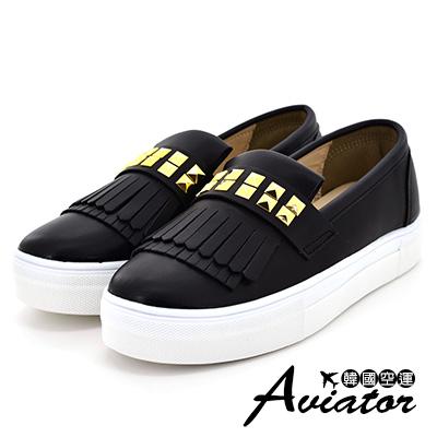 Aviator*韓國空運-流蘇金屬繞面皮革厚底懶人鞋-黑